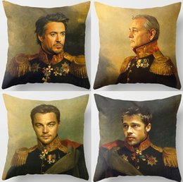 cuscini divano nero rosso Sconti Celebrities Replaceface Dipinti Cushion Covers David Bowie Alan Rickman Gary Barlow Brad Pitt Cuscino Divano Sedile Federa per cuscino