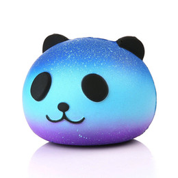 Brinquedos de estresse de espuma on-line-HOT Jumbo Kawaii Céu Estrelado Panda Squishy Super Lento Rising Charme Squishies Pão Squeeze Bun Kid Toy Anti Stress Boneca de Espuma de PU OTH890