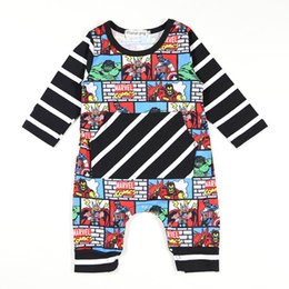 Wholesale Super Hero Clothes - Baby Jumpsuits Super Hero Cartoon Printed Striped Long & Short Sleeve Baby Boys Girls Clothing Cotton Blending 0-18M