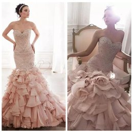 Custom Slim Vestidos De Noiva Blush Pink Mermaid Wedding Dresses 2018 Crystal Beaded Sweetheart Bling Bling Bodice Tiered Bridal Gowns Coupon
