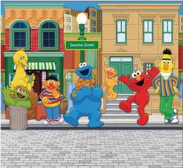 5x7FT Sesame Street Pavement Elmo World Shop Personalizzato Studio fotografico Sfondo Fondale in vinile 150cm x 220cm da colori delle stelle fornitori