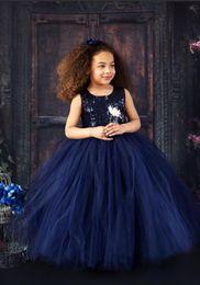 Argentina 2019 Nuevo diseño azul marino lentejuelas Top Girls Vestidos del desfile Vestido de bola Tulle Butterflies Kids Prom Party vestidos supplier navy blue sequin ball gown Suministro