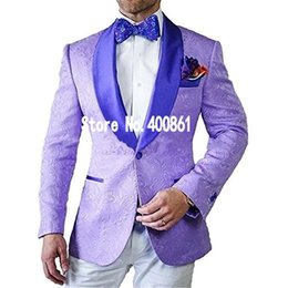 Wholesale Wedding 98 - New Arrivals One Button light purple Paisley Groom Tuxedos Shawl Lapel Groomsmen Best Man Blazer Mens Wedding Suits (Jacket+Pants+Tie) D:98
