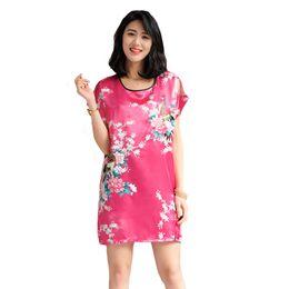 a76b2bbdd Mulheres chinesas imprimir pavão flor robe senhora sexy kimono roupão de  banho ocasional sleepwear manga curta camisola nightwear