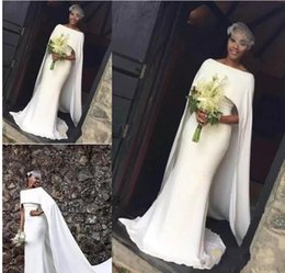 Wholesale Ruched Wedding Dresses Sleeves - 2018 Latest Satin Mermaid Wedding Dresses for Black Girl With Cape Zipper Back Arabic Bridal Dress Wedding Gowns