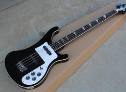 2019 cordas pretas de baixo branco Black Bass de 4 cordas Elétrica Guitarra com Pickguard Branco, Rosewood Fingerboard, Chrome Hardwares, Oferta Personalizada cordas pretas de baixo branco barato