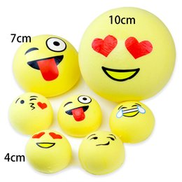 Wholesale Kids Handbags Wholesale - Emoji Squishy Squeeze Stretchy Bread 4 7 10cm Slow Rising Phone Charms Kawaii Cute Handbag Pendant Keychain Toys Gift for Kids