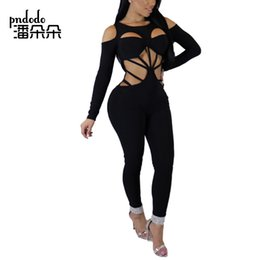 e3ab800930c Pndodo 2018 Women Sexy Bandage Hollow Out Jumpsuit Cold Shoulder Skinny One  Piece Pants Outfits Full Sleeve Long Romper Clubwear
