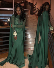 Wholesale spandex beaded evening gowns - New Arrival Dark Green Beaded Evening Dresses Sexy Cape Style Mermaid High Neck Long Sleeves Formal Pageant Prom Party Gowns Dubai Arabic