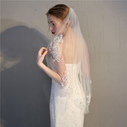 Wholesale Pearl Beads Online - Designer Best Selling Cheapest In Stock Short Length Bridal Veil White Ivory Appliques Wedding Veil Lace Online