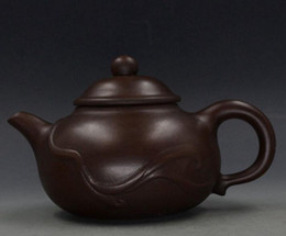 Wholesale Collectible Teapots - CHINESE YIXING ZISHA HANDMADE FINE STRIPES TEAPOT COLLECTION