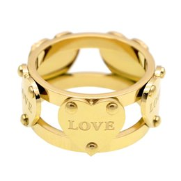 Wholesale double rose rings - 2018 Heart and Soul Double Hollow Five Peach Heart Ring for Women Jewelry Rose Gold Plated Titanium Steel Ring