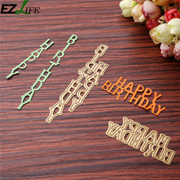 Wholesale happy birthday metal - 2pcs Golden Happy Birthday DIY Metal Cutting Dies Stencils Scrapbook Embossing Album Paper Card Craft Dies Cut