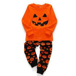 Niño disfraz de calabaza online-Baby Girls Boys Disfraces de Halloween Conjuntos de ropa de pijamas de calabaza para niños Calabaza Niños Ropa de dormir Sets de muebles