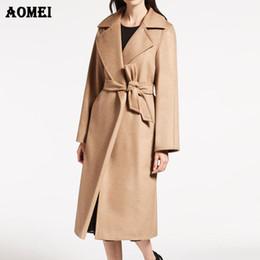 Abrigos de invierno modernos online-de las mujeres abrigo de invierno y del escudo con la pretina de las mujeres caliente elegante modernos de lana Volver Dividir 2018 Hembra largo otoño Outwear chaquetas