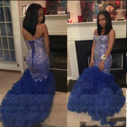Wholesale luxury gold sequins evening dress - Royal Blue African Prom Dresses 2018 Major Beading Sweetheart Ruffles Mermaid Evening Gowns Lace Up Back Luxury Celebrity Pageant Dress