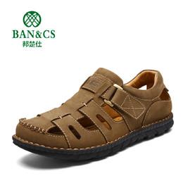Wholesale Tpr Sole Sandals - BANGCHUSHI Brand Men's Sandals Genuine Leather Soft Sole New Fashion Men Casual Shoes Summer Breathable Men Beach Sandals