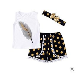 Ropa para niños Chaleco de plumas sin mangas Niños pequeños Ropa para niñas Niños Pantalones cortos blancos con puntos Diadema de oro negro con lazo 3pcs / set Envío gratis desde fabricantes