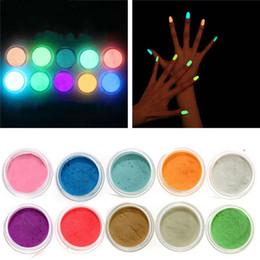 2019 3d acryl nägel designs Acrylnagel-Kunst-Leuchtstoff Lumineszenz-Glitter-Spitzen-Pulver-Sand-Glühen in der dunklen 3D Salon-Nagel-DIY Entwurfs-Dekoration günstig 3d acryl nägel designs