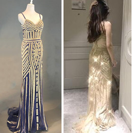 Wholesale Red Wine Pearl - Real sample Champagne Gold Sequined Mermaid Evening Dresses Illusion Crystal Dark Wine Red Burgundy Tulle Evening Prom Gowns