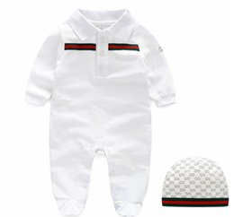42ea46bd4871 Autumn baby boys rompers designer kids stripes lapel long sleeve jumpsuits  infant girls letter embroidery cotton romper boy clothing Y6095