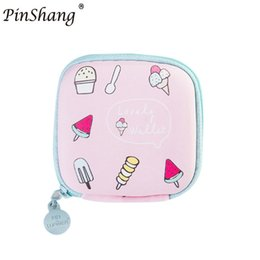 Wholesale Colored Zipper Bags - PinShang Money and Key Wallet Mini Candy Colored Girls Coin Bags Women Earphone Key Wallet Cute PU Square Storage good quality
