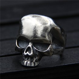 Wholesale ring hip - 925 sterling silver ring vintage Thai silver skull ring men's personality original designer ring hip hop jewelry china goods adjustable