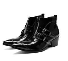 Marcas de botas pontudas para homens on-line-2018 Marca de Moda Homens De Couro Genuíno Botas Apontou Toe Fivela Ankle Boots Preto Vestido de Festa Sapatos Tamanho Grande Botas de Motociclista