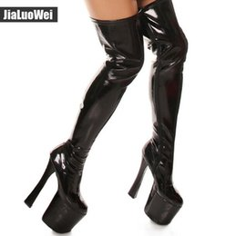 Wholesale Purple Western Boots - Free Shipping 2018 Fashion Sexy Stage Show Shoes 20cm High Heeled Over The Knee Boot Women Platform 9cm Thigh High Boots Plus Size