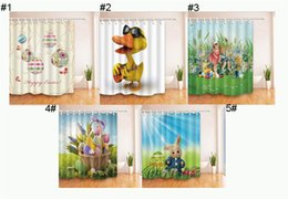 Wholesale Curtain Printing - Easter Eggs Shower Curtain 180*180cm Easter Day Holiday Theme 3D Printing Polyster Waterproof Bathroom Bath Curtain with Hooks