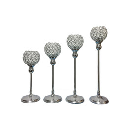 Wholesale Center Cup - Single Candle Holder K9 Crystals Silver plated Wedding Candelabra  Centerpiece Center table Decoration Candlestick