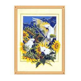 Pappagalli art online-Girasole Pappagallo 5D Diamante Rotondo Rotondo Ricamo Pittura Animali Uccelli FAI DA TE Kit Punto Croce Mosaico Disegna Home Decor Art Craft