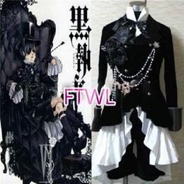 equipamento feito Desconto FTWL anime Black butler Kuroshitsuji Ciel Phantomhive Circus Terno Preto Outfit Traje Cosplay custom made