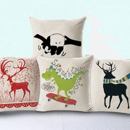 Wholesale snowflake cushions - New Pillow Case 4 Styles Hot Cotton Color Snowflakes Deer Art Cotton Pillow Office Car Sofa Cushion Covers Pillow Sets