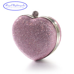 Wholesale heart shaped crystal box - Silver Pink Heart Shape Hard Box Clutch Bag Crystal Evening Bags for Womens Party Prom Wedding and Matching Shoes and Dress