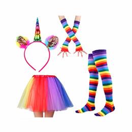 2019 crianças vestidos de festa meninas Vestido arco-íris INS Bebê Meninas Crianças Crianças Dança Tule Tutu Saias Partido Dancewear Ballet Vestido com Headwear Luvas e Meias crianças vestidos de festa meninas barato