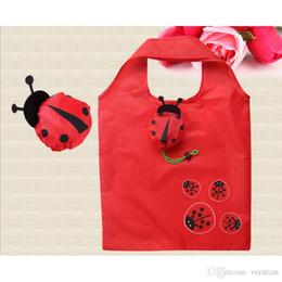 wasserdichte unterwäsche Rabatt Veratian Animal Folding Einkaufstasche umweltfreundliche Damen Geschenk faltbare wiederverwendbare Einkaufstasche tragbare Reise Umhängetasche Marienkäfer