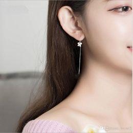 Wholesale Korean Chandelier Earrings - Ear line female long plated 925 silver fringed temperament butterfly earrings earrings Korean jewelry earrings
