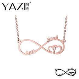 2019 kupfer-namensschilder Yazi Custom Infinity Halskette eingraviert zwei Namen in Halskette Gold Farbe vergoldet Kupfer Custom Schmuck Valentinstag Memory Geschenk günstig kupfer-namensschilder