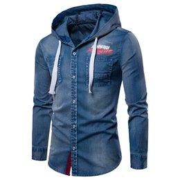 2019 джинсовая куртка Мужские джинсовые рубашки с длинным рукавом с капюшоном Джинсовые куртки Светло-темные печатные рубашки Fashon M to 3XL скидка джинсовая куртка