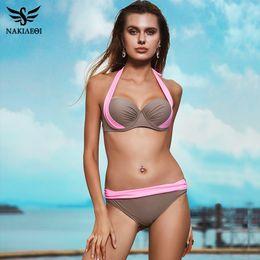 Bañador mujer talle alto online-Patchwork New Sexy Bikinis Mujeres Traje de baño Trajes de baño de cintura alta Swim Halter Push Up Bikini Set Plus Size Swimwear 3xl