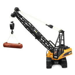Wholesale crane plastics - wholesale TrucksToy 1:14 15CH RC Alloy Crane Engineering Truck RTR Movable Latticed Boom Hook Mechanical Sound RC Trucks Kids Toy