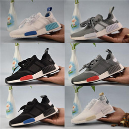 Wholesale Burgundy White - 2018 NMD Runner R1 Primeknit Sneakers Best Quality New Men And Women Running Shoes Triple White Black Discount Sport Shoes
