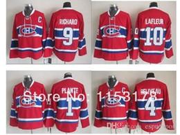 Wholesale Guys Nylon - 2015 Hockey Montreal Canadiens #4 Jean Beliveau #1 Jacques Plante #9 Maurice Richard 10 Guy Lafleur Red CCM Stitched Jersey