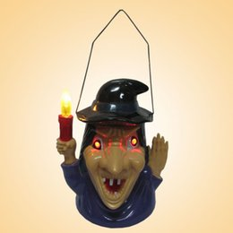 Wholesale Plastic Witch - Shouting Witch Lamp Lantern Halloween Supplies Yard Party Prop Plastic