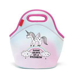 Wholesale team wall - Neoprene Unicorn Flamingo Food Bag Cartoon Lunch Tote Bag Cooler Bag Team Accessories Food Carrier LX0426