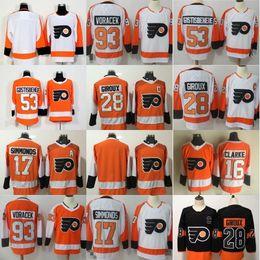 40e6a03f8 Philadelphia Flyers Jersey 28 Claude Giroux 53 Shayne Gostisbehere 17 Wayne  Simmonds 93 Jakub Voracek 19 Nolan Patrick Naranja Blanco Cosido