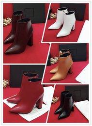 botas de invierno de calidad sexy Rebajas Nueva marca de otoño e invierno Diseñador de moda de lujo zapatos de mujer tacones altos botas Tejidos de cuero de vaca de alta calidad Sexy tacón puntiagudo mujer