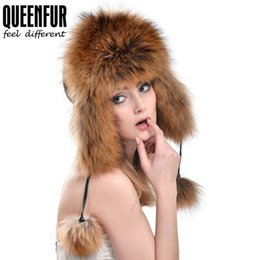 Wholesale Genuine Fox Fur Hat - QUEENFUR New Natural Fox&Raccoon Fur Ear Protector Cap With Fox Fur Pom Poms 2017 Winter Genuine Leather Headgear Bomer Hat