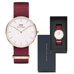 Часы для женщин случайные онлайн-2019 новая мода высокое качество мужская женская одежда Даниэль Веллингтон часы 40mm36mm нейлоновый ремешок повседневная спортивная марка водонепроницаемый кварц DW w